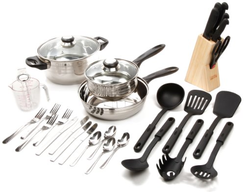 (Gibson Value 89117.32  Lybra 32 Piece Cookware Combo Set, Mirror Polished Stainless Steel)
