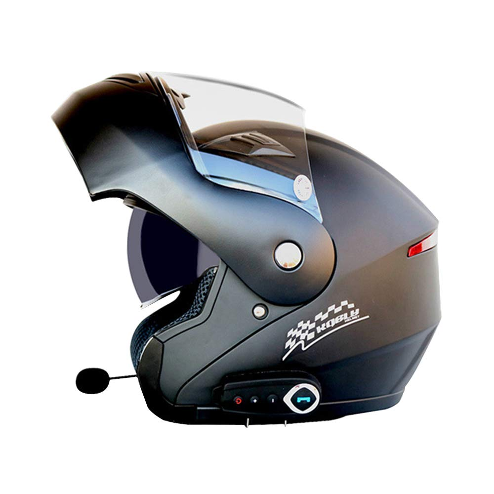 LETU Motorcycle Bluetooth Helmet Motorcycle Open Face Helmet D.O.T Safety Standard/Bluetooth Music/Automatic Answer/Front Flip Anti-Fog Double Mirror Comes With FM Matte Black, L