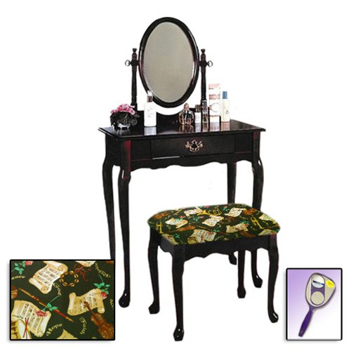 New Cherry Finish Queen Anne Make Up Vanity Table with Mirror & Themed Bench (Religious God Hope Peace Love Theme Bench)