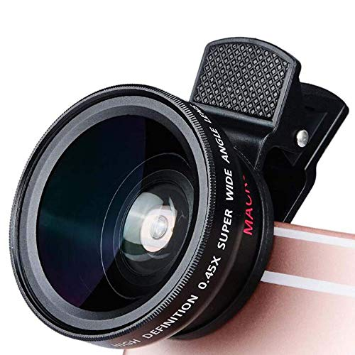 2 In 1 Cell Phone Lens, Wide Angle Lens + Macro Lens, Clip on Cell Phone Other Smartphone with Protective Sleeve PULLEY