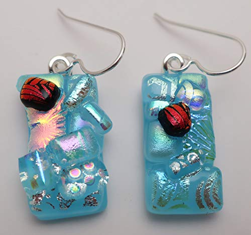 Aqua Blue crazy quilt fused dichroic glass dangle earrings Sterling Silver ear wires #232 ()