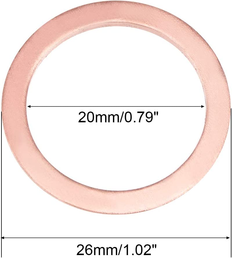10Pcs 17mm x 30mm x 2mm Copper Flat Washer for Screw Bolt