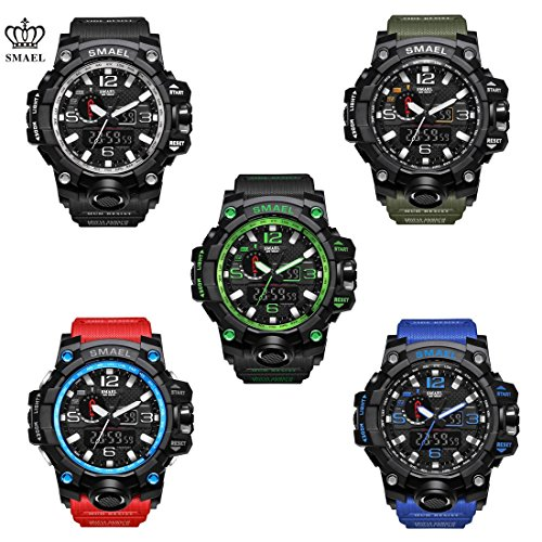 SMAEL Watch, Military Army Watch Analog Digital Dual Time Large Face Wrist Watch Sports Watch for Men