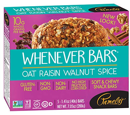Oatmeal Raisin Walnut - Pamela's Products Gluten Free Whenever Bars, Raisin Walnut Spice, 5 Count Box, 7.05-Ounce (Pack of 6)