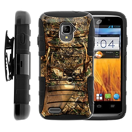 ZTE Rapido Case   Rugged Armor Series Impact Hard Rubber Durable Unique Creative Cover + Belt Clip , ZTE Z932L by Miniturtle ® - Deer Hunting - For Rapido Zte Lte Cover Phone