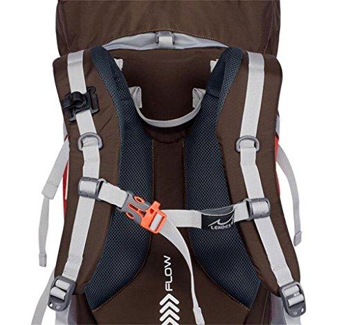 Outdoor-Klettern Tasche mit großer Kapazität wasserdichte Wandertasche Herren-Doppel-Schulterbeutel-Fraubeutel 55l 65l ( farbe : Rot , größe : 55L )