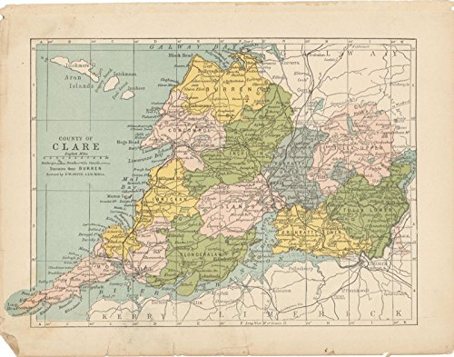 Historic Pictoric Map | Irish County Maps, Clare 1900 | Vintage Poster Art Reproduction | 24in x 30in
