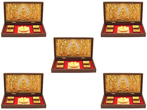 24k Gold Plated Frame - GoldGiftIdeas 24K Gold Plated Ganesha Photo Frame with Charan Paduka, Symbol of Divine, Return Gift for Wedding, Ganpati Wooden Momento Gift (Pack of 5)