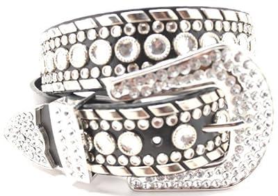 Deal Fashionista Women's Western Rhinestone Chrome Studded Rodeo Cowgirl Belt