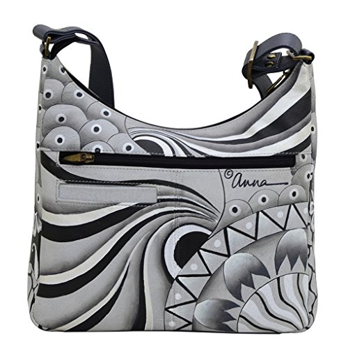 Anna Patchwork Hobo Anuschka Leather Handbag Hand amp; Holder Painted Shoulder Purse Top Curved Bundle by Pewter qq7rw5gxUS