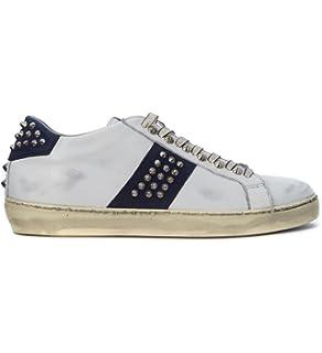 huge discount ac7da 42f08 Leather Crown Sneaker Pelle Bianca Vintage con Borchie, Taglia UK
