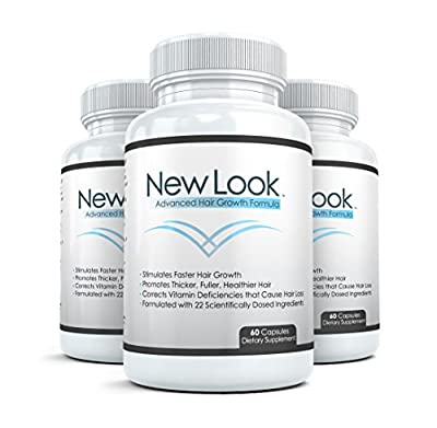 NEW LOOK Clinical Strength Hair, Skin & Nails Supplement (3 Bottles) - Promotes Faster Hair Growth, Beautiful Skin and Strong Healthy Nails - 60 Capsules per Bottle