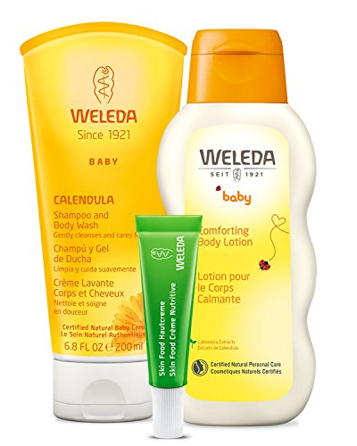Weleda Mama and Baby Essentials 3-Piece Set: Two-in-One Calendula Shampoo and Body Wash, Calendula Body Lotion, and Skin Food