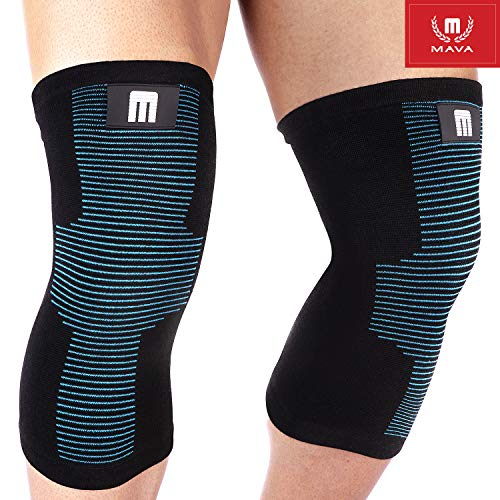 Mava Sports Knee Support Sleeves (Pair) for Joint Pain & Arthritis Relief, Improved Circulation Compression – Effective Support for Running, Jogging,Workout, Walking & Recovery (Black&Blue, Medium)