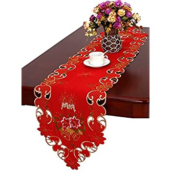 Christmas Table Runner And Scarf Embroidered Bells Candles And Poinsettia  15u201d X 68u201d