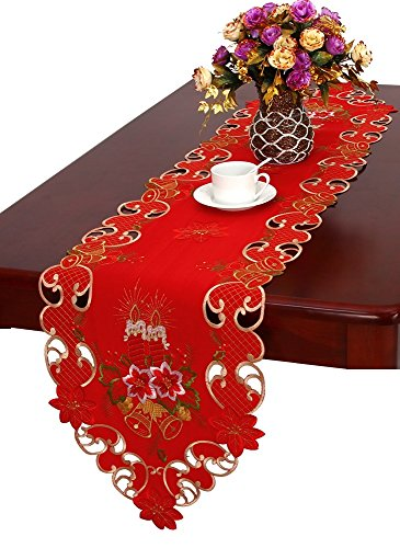 Grelucgo Christmas Table Runner and Scarf Embroidered Bells Candles and Poinsettia 15