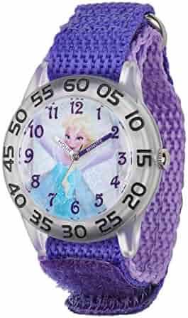 Disney Kids' W001791 Elsa Time Teacher Watch with Purple Band