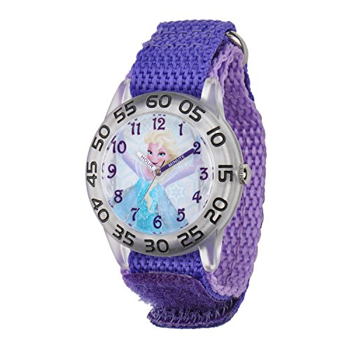 Disney Kids' W001791 Elsa Time Teacher Watch with Purple Band (Christmas Presents For 4 Yr Old Girl)
