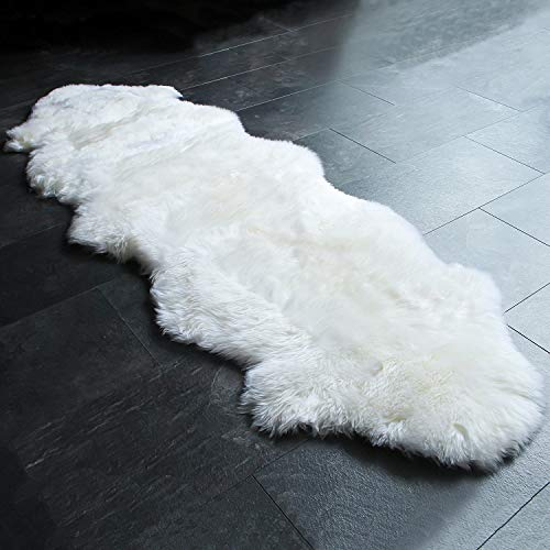 Outlavish Sheepskin Rug Genuine Soft Natural Merino + Care & Cleaning Guide (2 x 6ft White/Ivory)