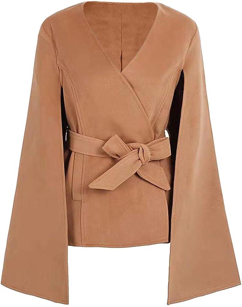 RUIVE Womens Loose Cape Coats Windbreaker Casual Belt Cardigan Plain Cloak Patchwork Open Front Jackets