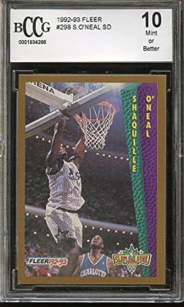 Amazoncom 1992 93 Fleer 298 Shaquille Oneal Sd Orlando Magic
