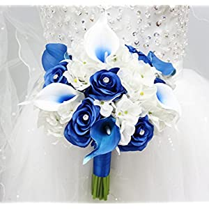 "Angel Isabella Beautiful Hand-Tied Bouquet-Hydrangea Rose Calla Lily-Colors in Navy Wine Burgundy Fuchsia Raspberry Mint Spa Coral Turquoise Horizon Blue (White/Royal Blue, 9"") 35"