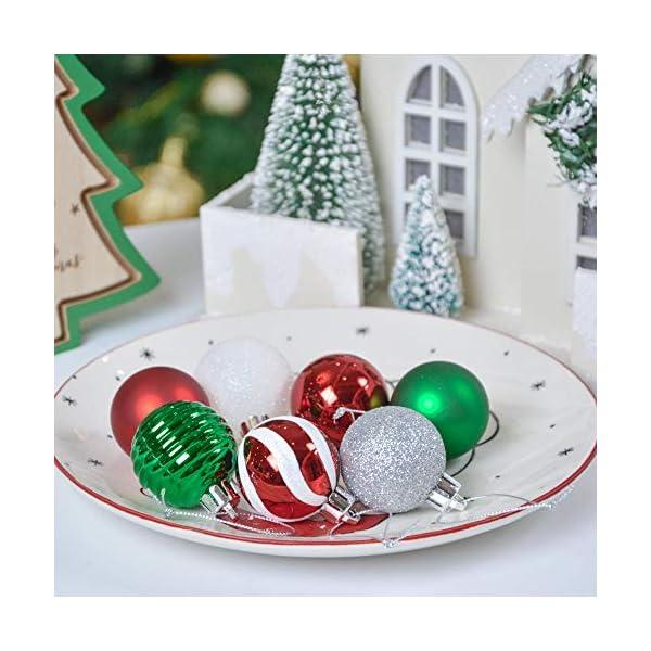 Valery Madelyn Palle di Natale 40 Pezzi 4 cm Palline di Natale, Collezione Classica Essenziale Rosso Verde e Bianco Ornamenti di Palla di Natale Infrangibili di Base per la Decorazione 5 spesavip