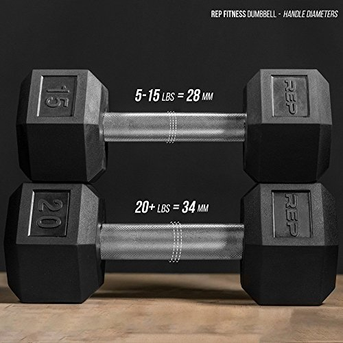 Rep Rubber Hex Dumbbells, 30 lb Pair by Rep Fitness (Image #4)