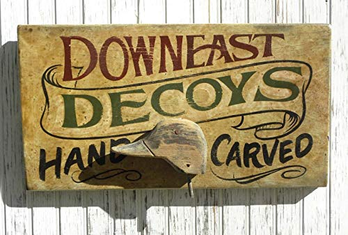(DownEast NC Decoy Sign vintage carved duck head. Great gift, north carolina art)
