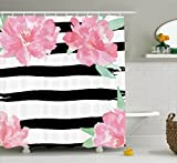 Black White and Pink Shower Curtain Ambesonne Floral Shower Curtain by, Watercolor Peony Flowers with Black Brush Strokes Romantic Spring Print, Fabric Bathroom Decor Set with Hooks, 75 Inches Long, Light Pink Black White