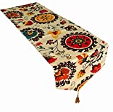 Yoovi Cotton and Linen Blend Reversible Table Runner Ethnic Floral (11.8'' X 70'')