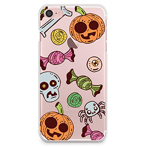 CasesByLorraine iPhone 8 Case, iPhone 7 Case, Halloween Pumpkins Candy Clear Transparent Case Flexible TPU Soft Gel Protective Cover for iPhone 7 (2016) / iPhone 8 (2017) (A100)]()