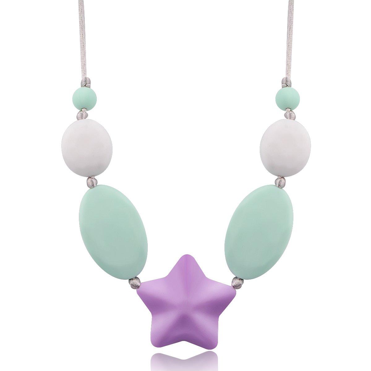 Jouets de dentition de bébé, Bracelet de perles de dentition multifonctionnel pour les femmes, jouets à mâcher Safe bébé, Rose Rose Megoday Megoday-Bracelet-bx-a