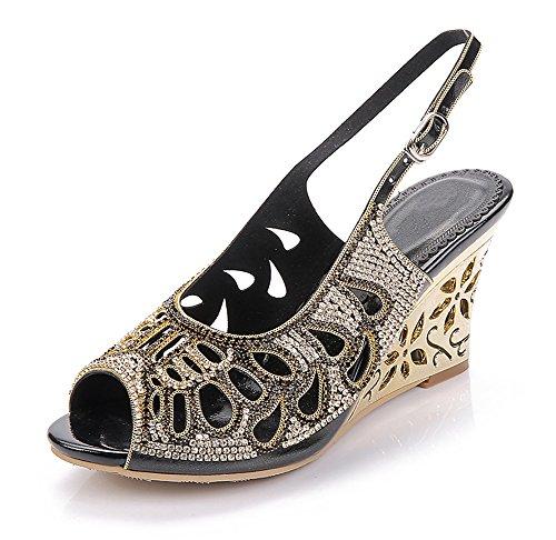 Mujer Tobillo Correa Cuña Tacón Sandalias Señoras Diamante Vestir Boda Paseo Fiesta Zapatos tamaño Negro