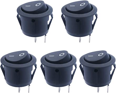 mxuteuk 10pcs Snap-in Round Boat Rocker Switch Toggle Power with wire SPDT ON-OFF-ON 2 Pin AC 250V 6A 125V 10A Use for Car Auto Boat Household Appliances 1 Years Warranty MXU1-5-101-CX