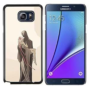 Caucho caso de Shell duro de la cubierta de accesorios de protecci¨®n BY RAYDREAMMM - Samsung Galaxy Note 5 5th N9200 - Amor Monstruo Muerte Rubio Beige