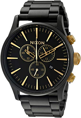 Nixon Sentry Chrono A3861041-00. Matte Black/Gold Men's Watch (42mm Matte Black/Gold Watch Case. 23-20mm Matte Black Stainless Steel Band)