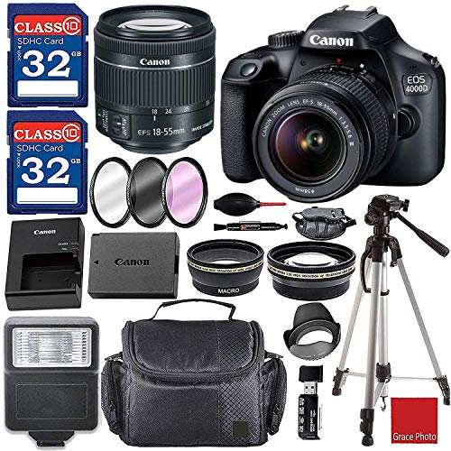 Canon EOS 4000D / Rebel T100 DSLR Camera with 18-55mm f/3.5-5.6 III Top Value Bundle with 64GB Memory, Flash, Case, Filter Kit and Much More
