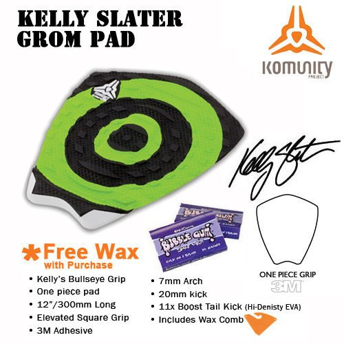 Komunity Project Kelly Slater Surfboard Traction Grom Pad (Black / Green, Warm Wax)