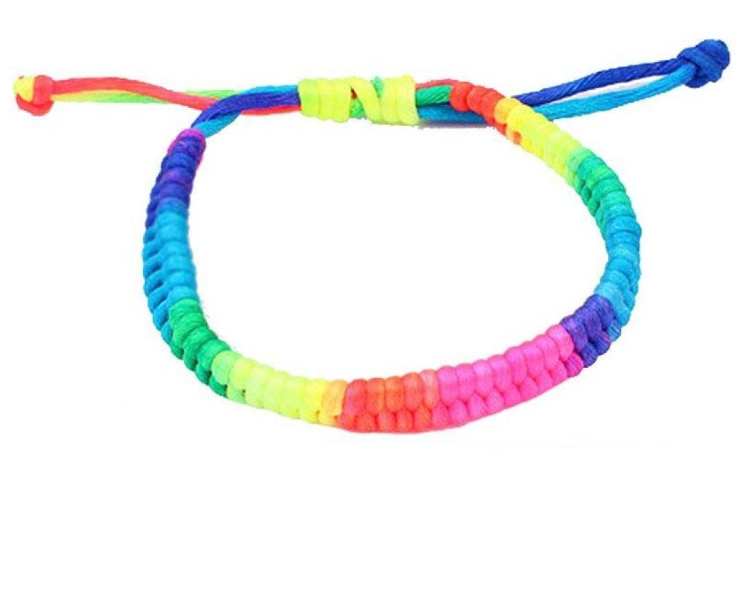 Muranba Adjustable Bracelet Rainbow Fluorescent Colors Woven Bracelet (Colorful)
