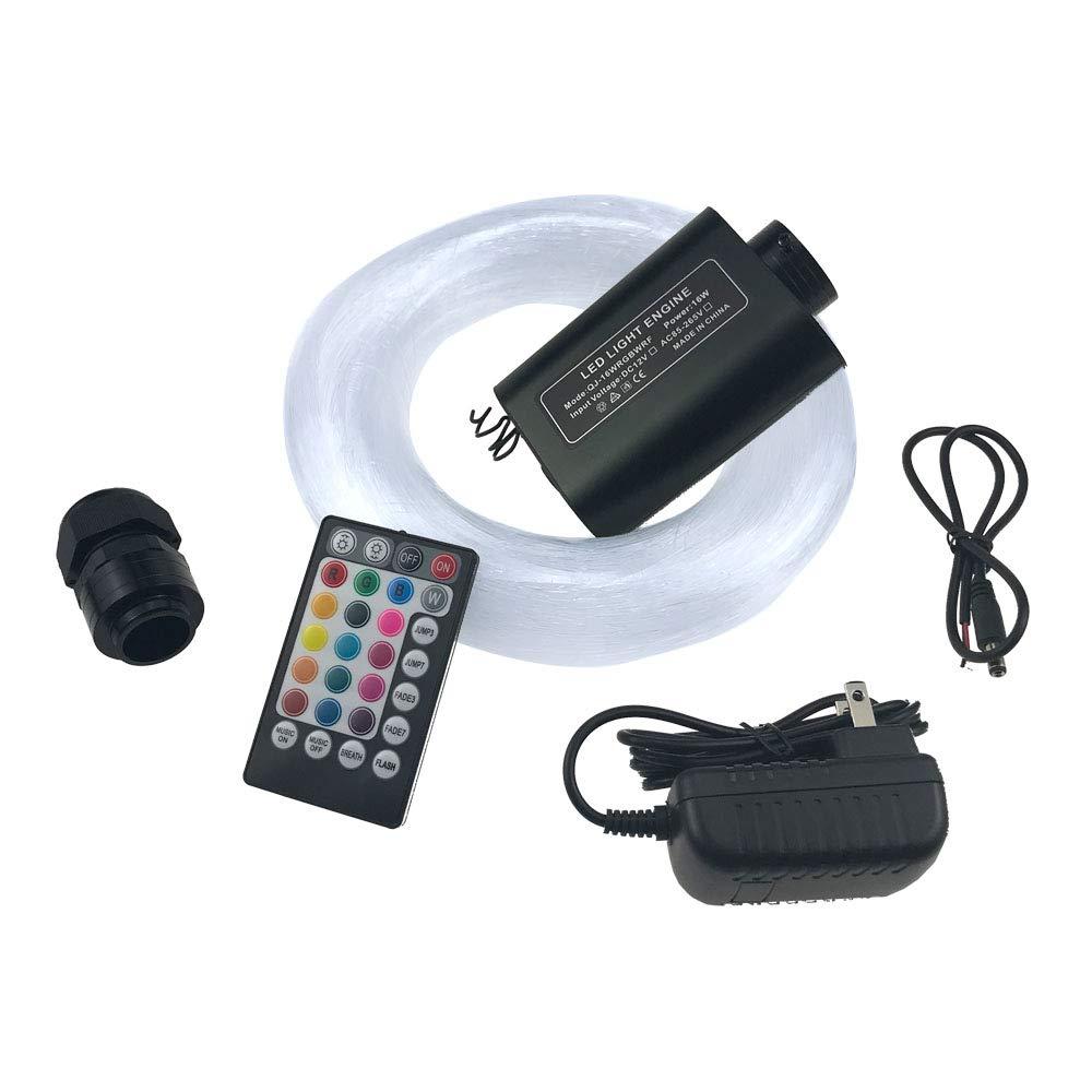Ninth-Mart Car Use 16W RGB LED Fiber Optic Star Ceiling Light Kit for Car or Room, Music Mode Sound Sensor, 28 Keys Remote Controller, 220 PCS 0.03in 9.8ft Long
