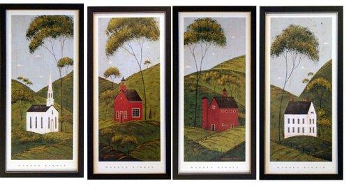 .com: framed country panel house barn church school warren ...