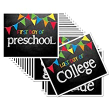 First & Last Day of School 8x10 Photo Prop Signs Entire Series Preschool - College Primary Color Flags for Boys or Girls, 16-Grade Levels: Preschool, Pre-K, Kindergarten, 1st to 12th Grades to College