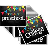 """Chalkboard Signs for First Day & Last Day of School, 8"""" x 10"""", Preschool - College in Primary Color Flags for Boys or Girls,16-Grade Levels: Preschool, Pre-K, Kindergarten, 1st-12th Grades to College"""
