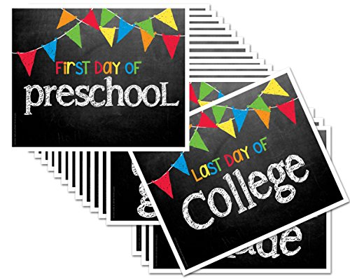 """Chalkboard Signs for First Day & Last Day of School, 8"""" x 10"""", Preschool - College in Primary Color Flags for Boys..."""