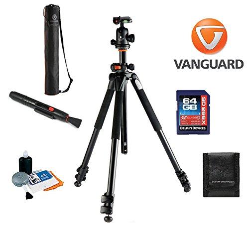 Vanguard Alta Pro 263AB 100 Tripod W/ SBH 100 Ballhead + Vanguard Case, 64GB SDXC Card, Cleaning Kit, Lens Pen, Memory Card Wallet by Vanguard