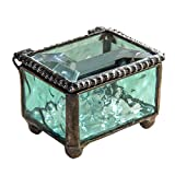 """J Devlin Box 325-3 Stained Glass Mini Jewelry Keepsake Ring Box Aquamarine Blue 2 1/4"""" x 1 5/8"""" x 1 1/2"""""""