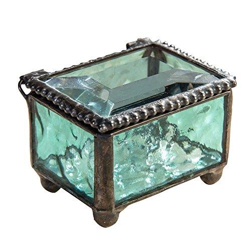 Glass Trinket (J Devlin Box 325-3 Stained Glass Mini Jewelry Keepsake Ring Box Aquamarine Blue 2 1/4