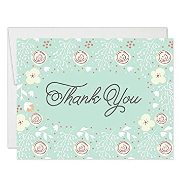 Amazon Com Mint Thank You Cards With Envelopes Pack Of 50