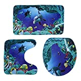BESTOMZ 3pcs/setSea World Bathroom Mat Sets, Polyester, Blue, Universal